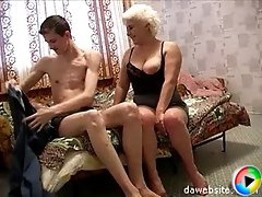 Horny mature housewife seduces her son's friend and fucks him hard