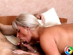 Beautiful mom shows much hunger for cock as she sucks it good and takes some creamy fucking