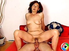 The sultry and sexy granny babe sits on his dick and it turns him on like he never thought possible