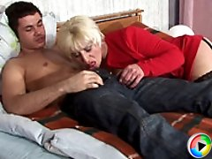 Slutty mature blonde in sexy black stockings cheating on her husband with a horny 25 y.o. stud